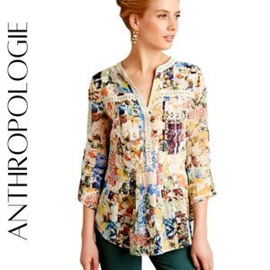 "ANTHROPOLOGIE Maeve Floral ""Abella"" Blouse, 6"